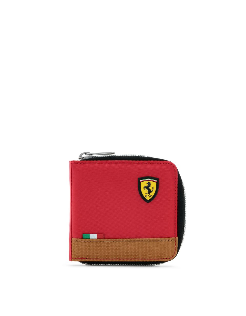 Scuderia Ferrari Online Store - Puma Scuderia Ferrari wallet with zip for men - Zip-around Wallets