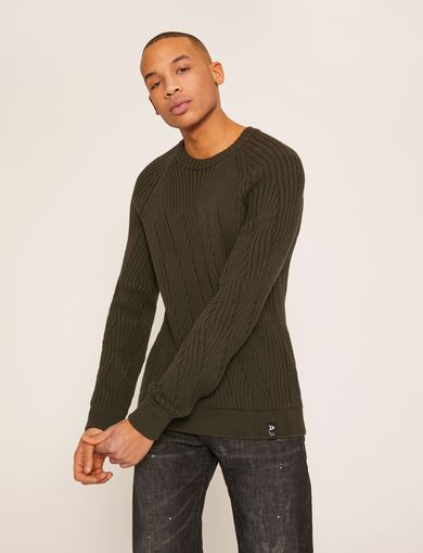 BRAIDED CABLE-KNIT RAGLAN SWEATER