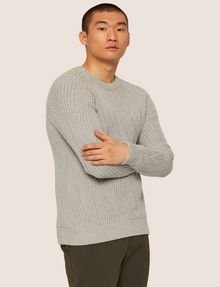 ARMANI EXCHANGE BRAIDED CABLE-KNIT RAGLAN SWEATER Crew Neck [*** pickupInStoreShippingNotGuaranteed_info ***] f