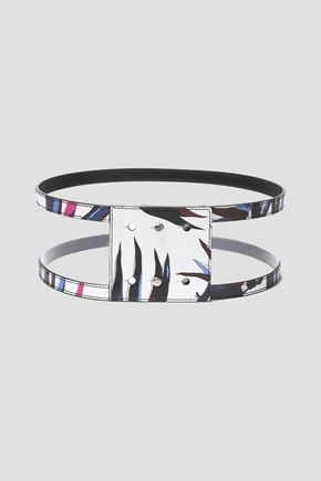 EMILIO PUCCI Studded printed leather wide belt