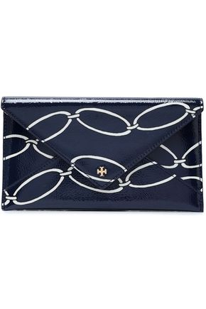 TORY BURCH Printed patent-leather wallet