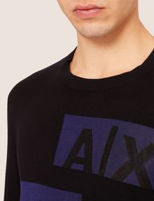 ARMANI EXCHANGE SLICED LOGO BAND CREWNECK SWEATER Crew Neck [*** pickupInStoreShippingNotGuaranteed_info ***] e