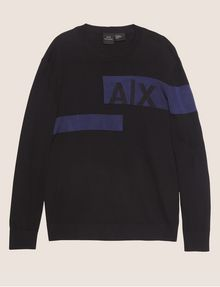 ARMANI EXCHANGE SLICED LOGO BAND CREWNECK SWEATER Crew Neck [*** pickupInStoreShippingNotGuaranteed_info ***] r