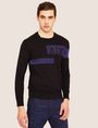 ARMANI EXCHANGE SLICED LOGO BAND CREWNECK SWEATER Crew Neck [*** pickupInStoreShippingNotGuaranteed_info ***] d