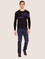 ARMANI EXCHANGE SLICED LOGO BAND CREWNECK SWEATER Crew Neck [*** pickupInStoreShippingNotGuaranteed_info ***] f