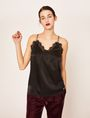 ARMANI EXCHANGE RACERBACK LACE-TRIMMED SILK CAMI Solid Top [*** pickupInStoreShipping_info ***] f