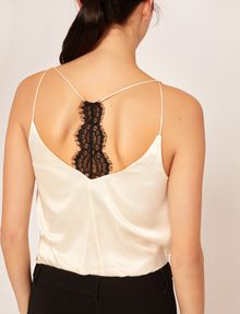 ARMANI EXCHANGE RACERBACK LACE-TRIMMED SILK CAMI Solid Top [*** pickupInStoreShipping_info ***] b
