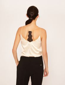 ARMANI EXCHANGE RACERBACK LACE-TRIMMED SILK CAMI Solid Top [*** pickupInStoreShipping_info ***] e