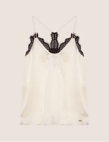 ARMANI EXCHANGE RACERBACK LACE-TRIMMED SILK CAMI Solid Top [*** pickupInStoreShipping_info ***] r
