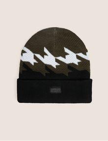 ARMANI EXCHANGE HOUNDSTOOTH KNIT BEANIE Hat [*** pickupInStoreShippingNotGuaranteed_info ***] f
