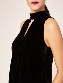 ARMANI EXCHANGE CUTOUT MOCKNECK VELVET TANK Solid Top [*** pickupInStoreShipping_info ***] b