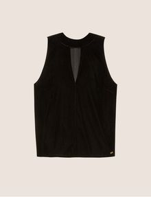 ARMANI EXCHANGE CUTOUT MOCKNECK VELVET TANK Solid Top [*** pickupInStoreShipping_info ***] r
