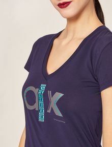 ARMANI EXCHANGE METALLIC STUD LOGO V-NECK Logo T-shirt Woman b