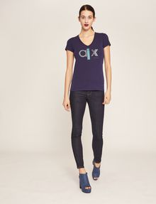 ARMANI EXCHANGE METALLIC STUD LOGO V-NECK Logo T-shirt Woman d