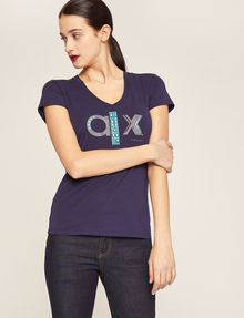 ARMANI EXCHANGE METALLIC STUD LOGO V-NECK Logo T-shirt Woman f