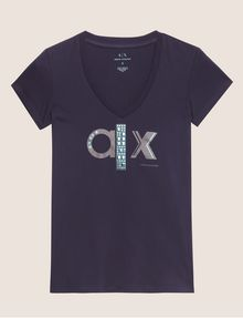ARMANI EXCHANGE METALLIC STUD LOGO V-NECK Logo T-shirt Woman r