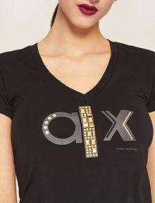 ARMANI EXCHANGE METALLIC STUD LOGO V-NECK Logo T-shirt Woman b
