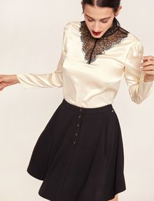 ARMANI EXCHANGE LACE-PANELED SILK MOCKNECK BLOUSE Solid Top Woman a