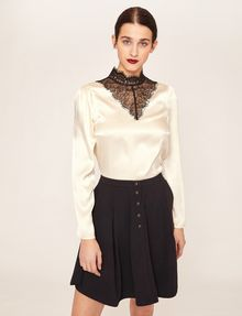 ARMANI EXCHANGE LACE-PANELED SILK MOCKNECK BLOUSE Solid Top Woman f