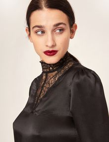 ARMANI EXCHANGE LACE-PANELED SILK MOCKNECK BLOUSE Solid Top [*** pickupInStoreShipping_info ***] a