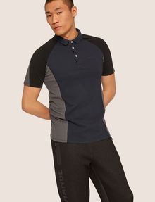 ARMANI EXCHANGE COLORBLOCKED 3-BUTTON LOGO POLO SHORT SLEEVES POLO [*** pickupInStoreShippingNotGuaranteed_info ***] f