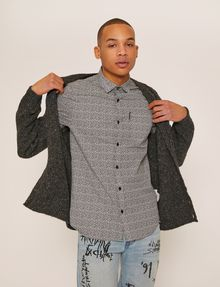 ARMANI EXCHANGE SLIM-FIT AX MICRO-PRINT SHIRT Short sleeve shirt Man a