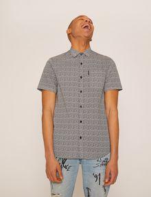 ARMANI EXCHANGE SLIM-FIT AX MICRO-PRINT SHIRT Short sleeve shirt Man f