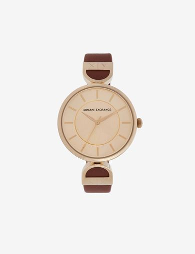 GOLD-TONED LINKED BAND WATCH