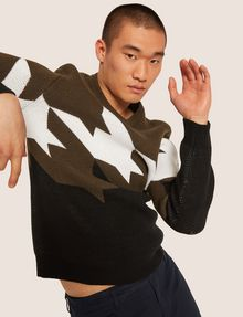 ARMANI EXCHANGE OVERSIZED HOUNDSTOOTH KNIT SWEATER Crew Neck Man a