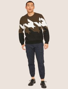 ARMANI EXCHANGE OVERSIZED HOUNDSTOOTH KNIT SWEATER Crew Neck Man d