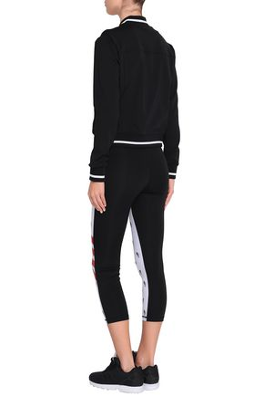 PURITY ACTIVE Cropped paneled printed stretch leggings