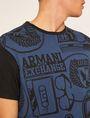 ARMANI EXCHANGE LOOSE-FIT COLLEGIATE PRINT CREWNECK TEE Graphic T-shirt [*** pickupInStoreShippingNotGuaranteed_info ***] b