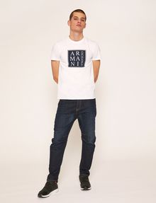 ARMANI EXCHANGE SLIM-FIT BOXED & STACKED LOGO CREW Logo T-shirt Man d