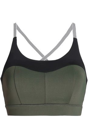 PURITY ACTIVE Two-tone tech-jersey sports bra