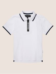 ARMANI EXCHANGE BOYS LOGO TAPE QUARTER-ZIP POLO SHORT SLEEVES POLO Man f
