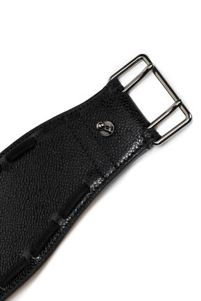 ALAÏA Suede-trimmed textured-leather belt