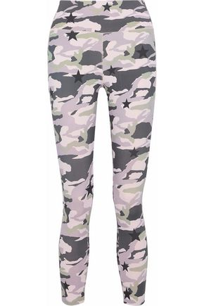 MONROW Cropped printed stretch leggings
