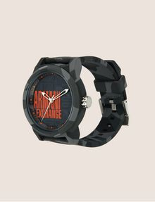 ARMANI EXCHANGE GEO CAMO TACTICAL SILICONE BAND WATCH Fashion Watch Man d