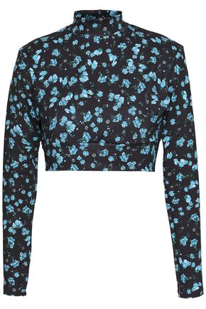 BODYISM Cropped floral-print stretch top