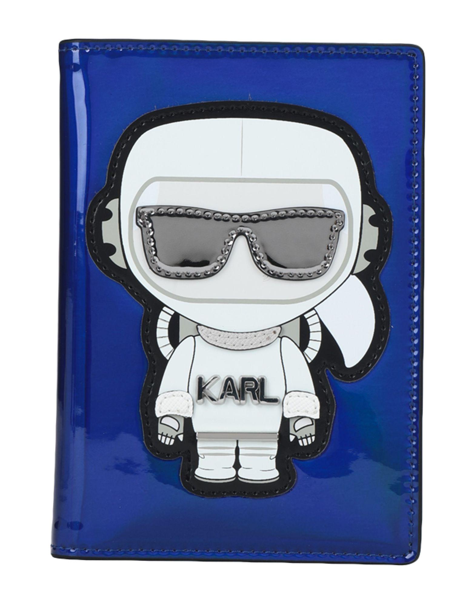 《セール開催中》KARL LAGERFELD レディース ドキュメントホルダー ブルー ポリウレタン 100%