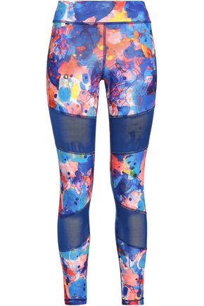 ADIDAS Printed mesh-paneled stretch leggings