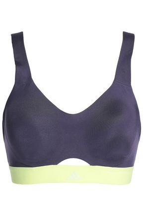 ADIDAS Mesh-paneled stretch-jersey sports bra