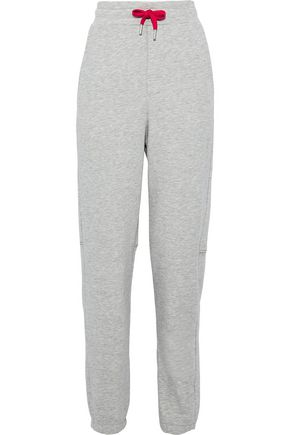 ZOE KARSSEN Mélange cotton-blend terry track pants