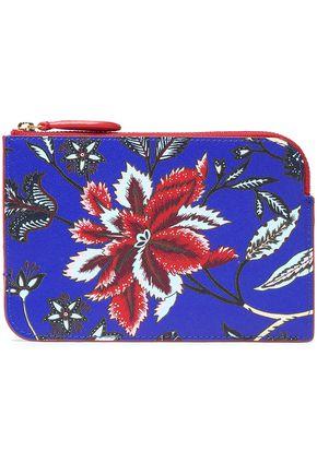 DIANE VON FURSTENBERG Floral-print textured-leather pouch
