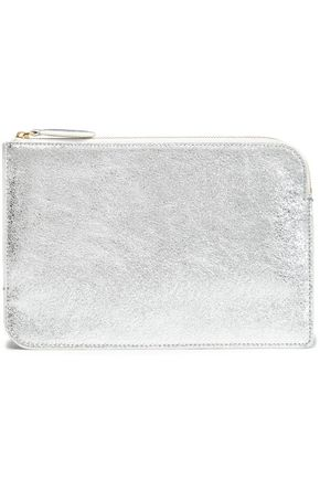 DIANE VON FURSTENBERG Metallic cracked-leather pouch