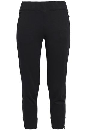 ADIDAS Cropped cotton-blend jersey track pants