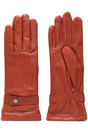 AGNELLE Celine snap-detailed leather gloves