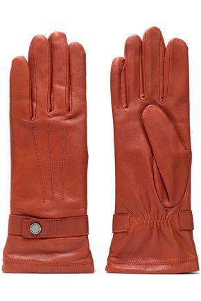 AGNELLE スナップボタン付き レザー 手袋