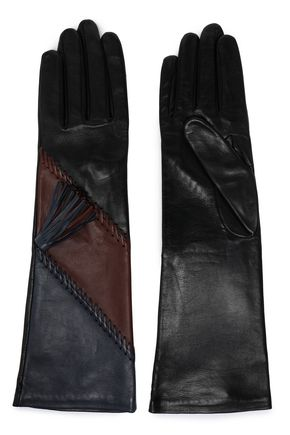 AGNELLE Whipstitch-trimmed color-block leather gloves