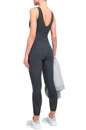 ADIDAS Mesh-paneled stretch-jersey jumpsuit